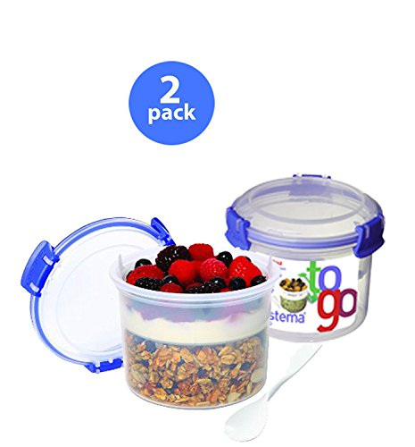 Sistema Klip It Breakfast to Go Container, 17.9-Ounce, Clear x2