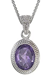 Vir Jewels Sterling Silver Amethyst Pendant (1.70 CT) With 18 Inch Chain