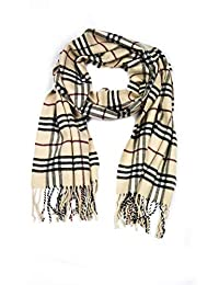 Sakkas 1590 - Booker Cashmere Feel Solid Colored Unisex Winter Scarf With Fringe - Beige/Black - OS