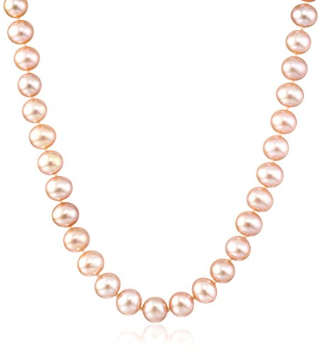 Cultured Pearl Rose Gold Necklace - 14k White Gold 7-8mm Rose Freshwater Cultured AA Quality Pearl Necklace, 18
