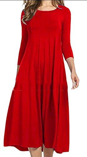 3 Vestito Colore Womens Maxi Rosso Solido 4 Dall'oscillazione Manica Domple fit Girocollo Partito Loose qvxXrvpt