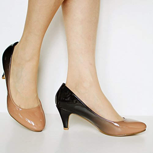 Rock on Styles Womens Ladies Party Evening Two Tone Patent Low Kitten Heel Court Shoes Size - 6672 Khaki zIbEhTHz