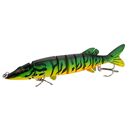 2pcs/lot 20cm 66g Multi-jointed 8-segement Pike Muskie Fishing Lure Swimbait Crankbait Pesca Hard Bait Fish Treble Hook Tackle Type#C ()