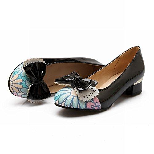 Charm Foot Sweet Cute Bows Womens Mid Heel Pumps Shoes Black 8cSXo3j