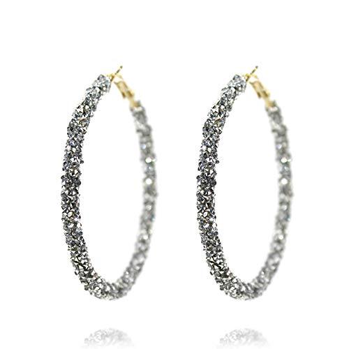 Pomina Glitter Sparkle Hoop Earrings for Women (Hematite) (Gold Hematite Earrings)