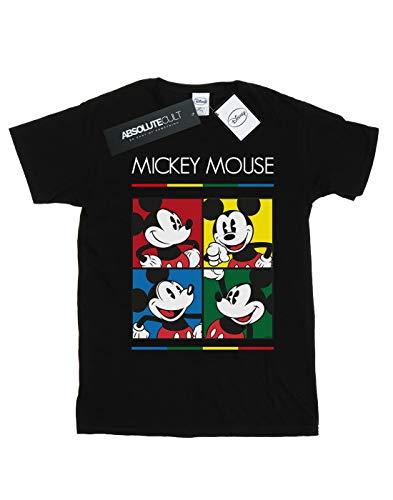 Del Square Mickey Camiseta Fit Colour Novio Mujer Mouse Negro Disney c7RqwYtx