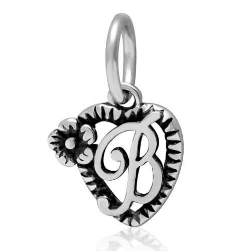 Letter Initial A-z Dangle Alphabet Bead 925 Sterling Silver Flower on Heart Charms fit for DIY Charm Bracelet & Necklace (B)