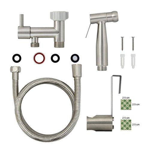 new MODONA Premium Diaper & Bidet Sprayer Complete Set - STAINLESS STEEL (SS304) - Satin Nickel