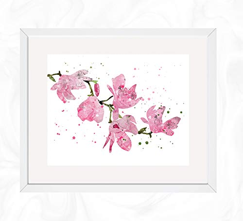 (Pink Spring Magnolia Flower Prints, Botanical Watercolor, Nursery Wall Poster, Holiday Gift, Kids and Children Artworks, Digital Illustration Art)