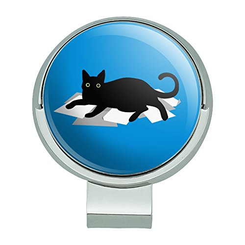 GRAPHICS & MORE Black Cat Lying on Papers Golf Hat Clip with Magnetic Ball ()