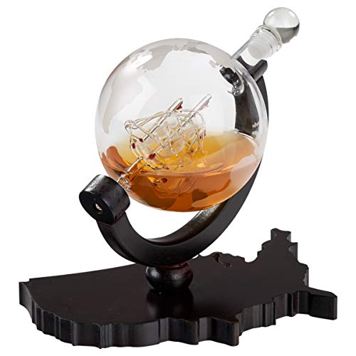Whiskey Decanter on USA Map Tray - Etched Globe Liquor Decanter - Beverage Serveware - 850 ML (Decanter Trays)