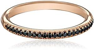 Kobelli Noir Rose Gold Round Black Diamond Band , Size 7 (1/5 cttw, H-I Color, I1-I2 Clarity)