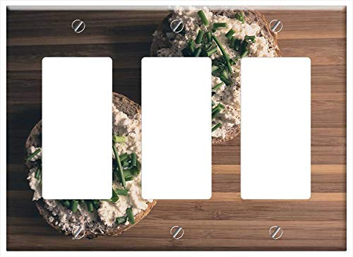 Switch Plate Triple Rocker/GFCI - Food Breakfast Natural-Light Cottage-Cheese - Rocker Cottage Natural