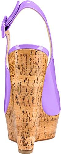 Trusify Mujer 12cm EU tamaño 34-46 Truabandon Tacón ancho 12CM Sintético Sandalias de vestir Morado