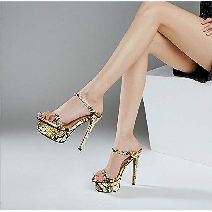 Scarpe E Borse Da Donna Sandali Donna Pelle Europea Americana Super Tacco Alto Pantofole Piattaforma Impermeabile Di Serpente Spillo Testa Rotonda Moda