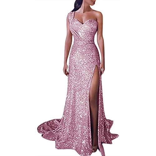 Forthery-Women Sequined Party Ball Gown Fashion Sexy One Shoulder Pleat Evening Prom Dresses(Pink,Medium(US-6)