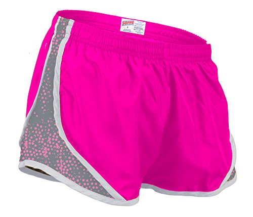Soffe Women's Printed Team Shorty Shorts, Neon Pink/Gunmetal Dot, Small