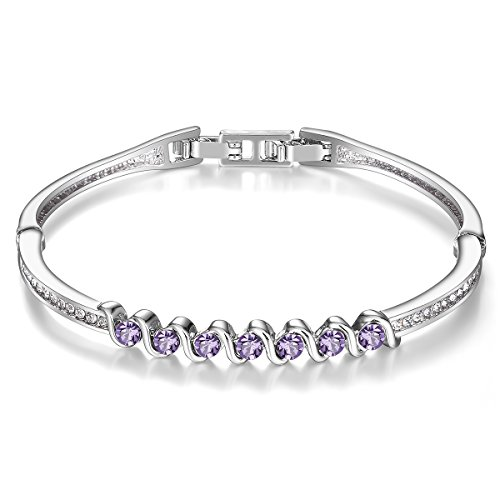 (Menton Ezil 925 Silver Plated Swarovski Bracelets with Purple Amethyst Round Shape Stones Charming Jewelry for Wedding Gift)