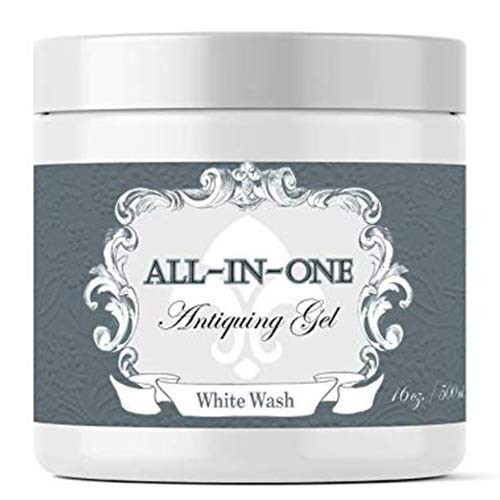 White Wash, Antiquing Gel (Thick Glaze with built in Top Coat) (8oz)