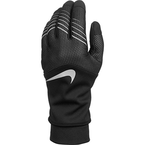 best service b483b 90833 Nike Women s Storm-Fit Hybrid Run Gloves Black Silver Athletic Sports