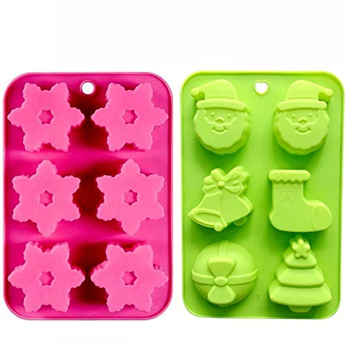 Merry Christmas Candy Making Molds Silicone Christmas Snowflake Mold Trees Stockings Bells & Bows - Santa Claus Flexible Mold, Non-stick Silicone Baking Mold, Set of 2