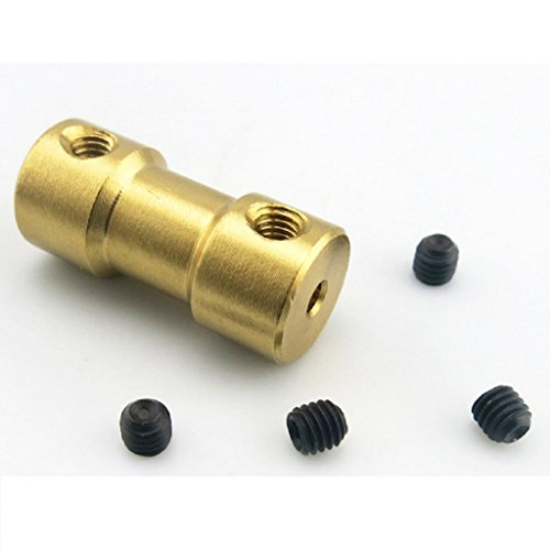 - 10PCS Brass Shaft Coupling Motor Rigid Coupler Motor Connector Brass Joint for Hobby RC Model with Screws (3mm to 4mm)