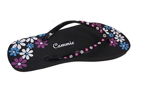 Kvinner Strand Flip Flop Thong Sandal Med Blomstermønster Stropper Svart