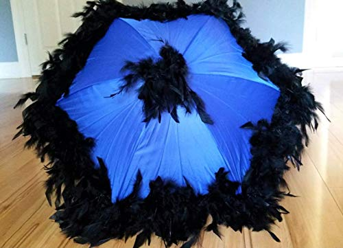 - Second Line Umbrella Black Feathers on Blue Umbrella- New Orleans Style- Parasol Sized