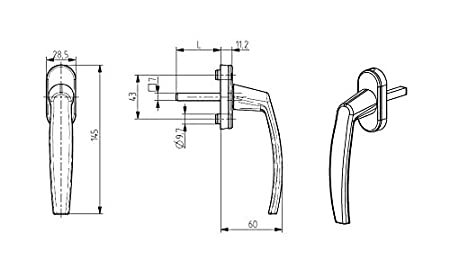 ToniTec Fenstergriffe Aluminium Wei/ß Olive ModellLENA II mit 35mm Stift inkl Schrauben 4 St/ück