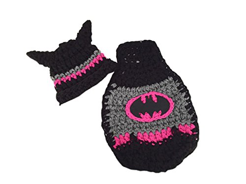 Pinbo Baby Girls Photography Prop Crochet Knitted Batman Hat Cape (Newborn Batman Outfit)