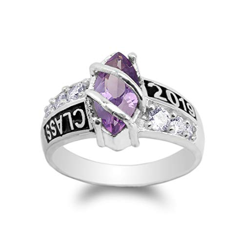 JamesJenny White Gold Plated Class of 2019 1.25ct Purple Marquise CZ School Graduation Ring Size 7