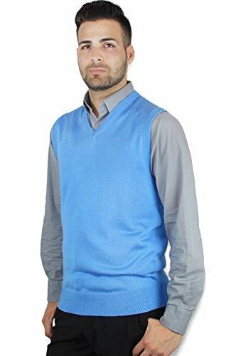 Blue Ocean Solid Color Sweater Vest Sky Blue X-Large