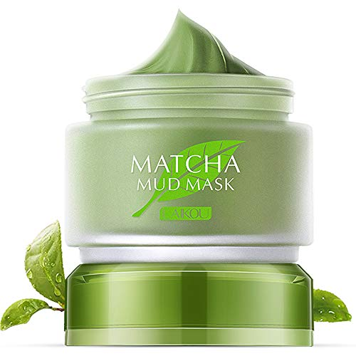 Green Tea Matcha Mud Facial Mask Deep Cleaning Oil-Control Moisturizing Blackhead Remover Anti Acne Lightening & Anti Aging Skin Pore Cleanser Mud (Green Facial Mask)