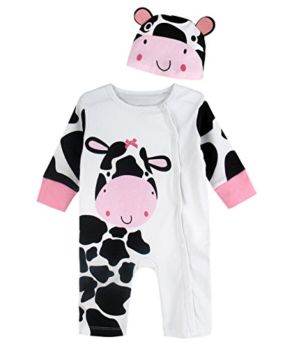 A&J Design Baby Girls' Cows Costume Romper with Hat (0-6 Months, White)