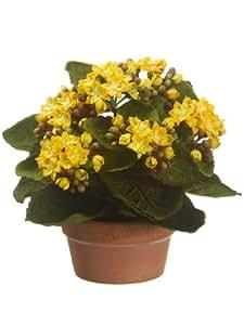"""8"""" Kalanchoe Silk Flower Arrangement -Yellow (case of 4)"""