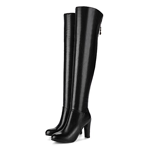COOLCEPT Mujer Moda Tacon Alto Over Knee Botas With Cremallera Black