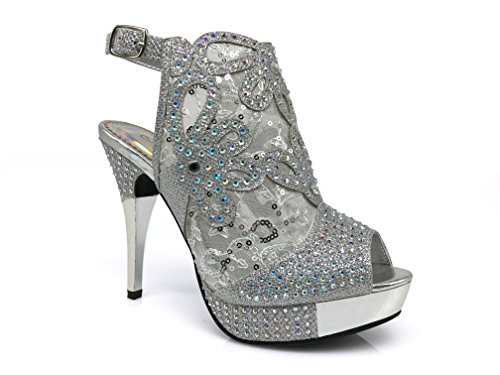 Angie15 Womens Open Toe High Heel Wedding Rhinestone Mesh Sling Back Sandal Wedge Shoes (8, silver)