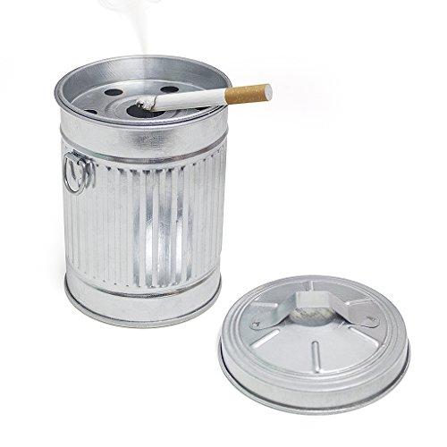 balvi Aschenbecher Garbage In Form eines Mülleimers Mit Deckel Verzinktes Metall 13 cm