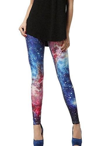 Aivtalk Moda Leggings Skinny Pantalones Lápiz Elásticos Pantalón Esbelto Pants para Mujer Chica - Estampado de Cielo Estrellado Cielo Estrellado Modelo 4
