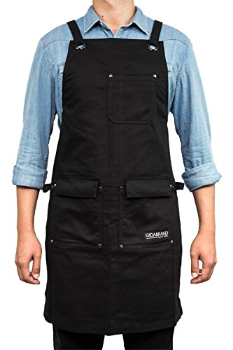 GIDABRAND Professional Grade Chef Kitchen Apron with Double Towel Loop  10 oz Cotton for Cooking, BBQ and Grill  Men Women Design with 3 Pockets, Quick Release Buckle and Adjustable Strap M to XXL