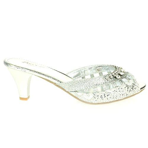 AARZ LONDON Frau Damen Kristall Diamant Abend Hochzeit Party Abschlussball  Braut Schlüpfen Kätzchen Ferse Sandalen Schuhe ...