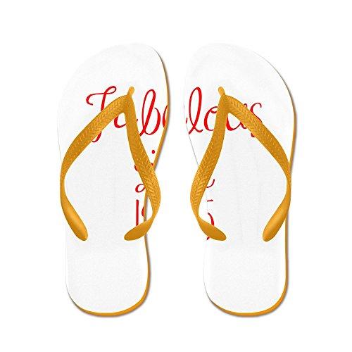 CafePress Fabulous Since 1965-MAS Red Flip Flops - Flip Flops, Funny Thong Sandals, Beach Sandals Orange
