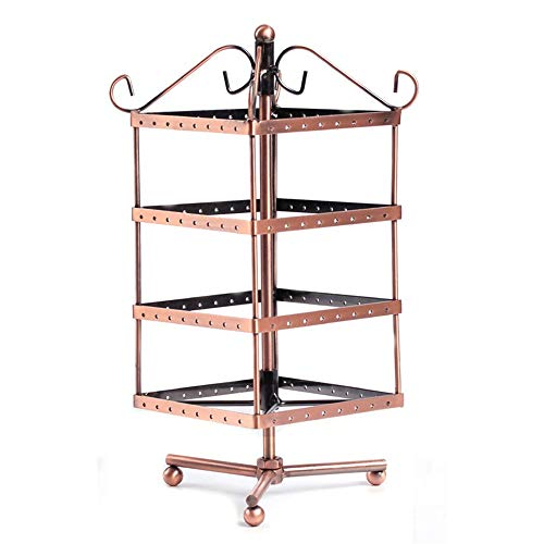 Jewelry Organizer, 4 Tiers Rotating 128 Pairs Earring Holder-Necklace Organizer Stand-Jewelry Stand Display Rack Towers Bracelet Necklace Jewelry Organizer ( Color : Bronze , Size : 27.5CMX12.5CM ) 48' Media Storage Tower