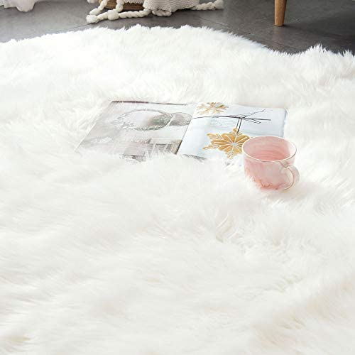 OJIA Deluxe Soft Faux Sheepskin Chair Cover Seat Pad Plain Shaggy Area Rugs for Bedroom Sofa Floor 5ft x 6ft, Ivory White