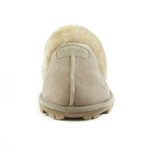 Clppli Mujeres Slip On Faux Fur Cálidas Mules De Invierno Fluffy Suede Comfy Slippers Sand