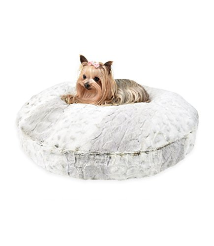 Peluche Plush Luxury Cuddle Cloud Round Eco-Wool-Filled Dog/Pet Bed (24'' Diameter, Snow Leopard) by Peluche Plush Collection
