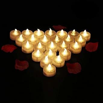 24 Velas LED Sin Fuego - Glamouric Velas Electrónicas con Baterías Incorporadas Perfectas para San Valentín, Cumpleaños, Fiestas, Halloween, Navidad, Festivales, Decoración (Luz Blanca Cálida)