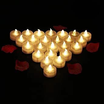 24 Velas LED Sin Fuego - Glamouric Velas Electrónicas con Baterías Incorporadas Perfectas para San Valentín, Cumpleaños, Fiestas, Halloween, Navidad, ...