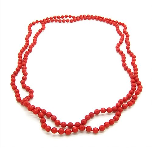 Gem Stone King Endless 5mm Red Simulated Coral Strand Beaded 44 Inches Long Bracelet or Necklace
