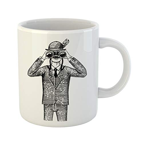Emvency Coffee Tea Mug Gift 11 Ounces Funny Ceramic Man in Costume Looking Through the Binoculars Spyglass Vintage Old Engraved Gifts For Family Friends Coworkers Boss Mug